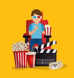 young man with glasses 3d and cinema icons vector image