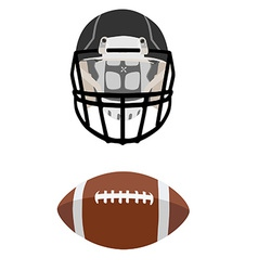 American football ball and helmet vector image