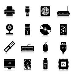 Computer Parts Icons Black vector image