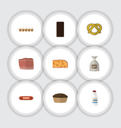Flat icon eating set of tart beef bottle and vector