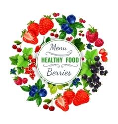 Fresh berries poster or fruit menu vector image vector image