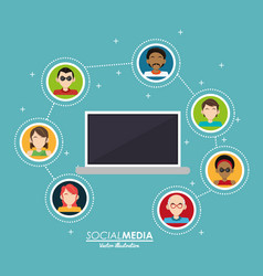 laptop persons connected integrate communication vector image vector image