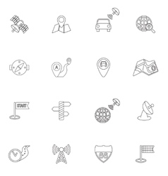 Mobile navigation icons outline vector image vector image