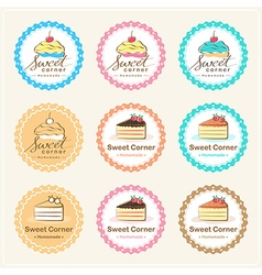 Set pf sweet bakery badge label and logo vector