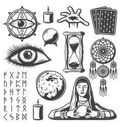 Vintage mystic elements set vector