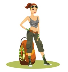 Beautiful young female backpacker vector image vector image
