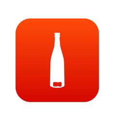 empty wine bottle icon digital red vector image