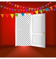 Open door with transparent vector image