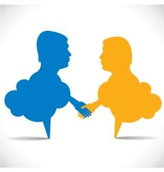 people like message bubble hand shake vector image