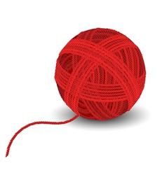 Red yarn ball vector image