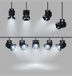 spotlights with white light collection isolated on vector image