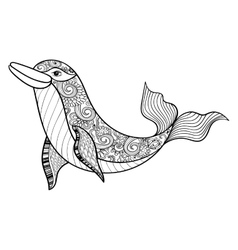 Zentangle sea Dolphin for adult anti stress vector image vector image