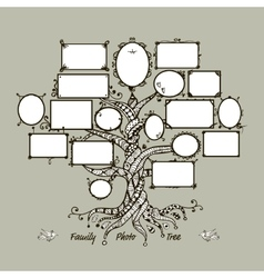 Family tree template with picture frames vector image vector image
