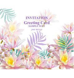 invitation or greeting card with water lily vector image