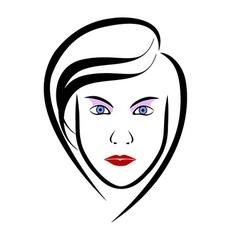 Woman head symbol vector image