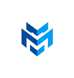 abstract shape letter M technology logo vector image