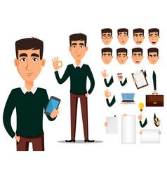 business man cartoon character creation set vector image vector image
