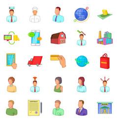distributive trades icons set cartoon style vector image