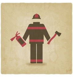 Fireman with extinguisher and axe old background vector