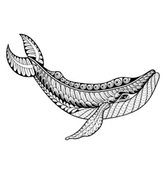 Zentangle Whale for adult anti stress vector image vector image