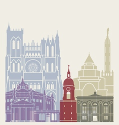 Amiens skyline poster vector image