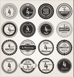 Anniversary retro labels collection 4 years vector