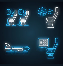 Aviation services neon light icons set vector