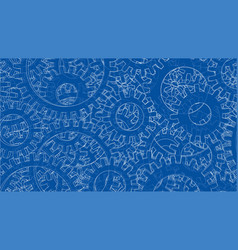background consisting of gears blueprint style vector image