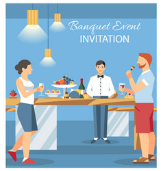 banquet invitation card flat vector image