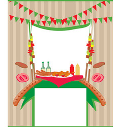 barbecue party invitation card vector image