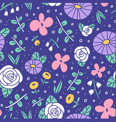 beautiful flower field pattern vector image