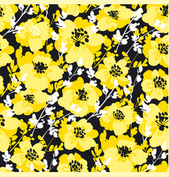 Black and yellow fun floral seamless pattern vector