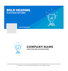 blue business logo template for award trophy vector image