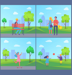 boy sitting on bench couple walking with guitar vector image