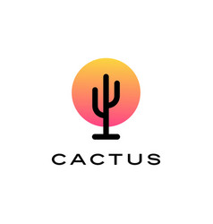 cactus sunset sunrise sun logo icon vector image