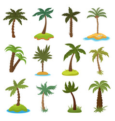 cartoon palm trees on tropical exotic islands vector image