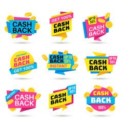 Cashback labels cash back banners return money vector