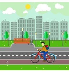 City landscape with buildings road and cyclist vector image