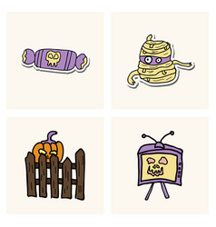Collection of halloween flat celebration cards vector