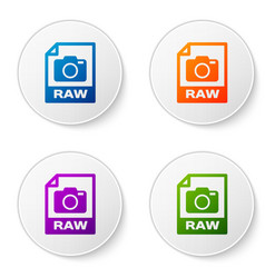 color raw file document icon download raw button vector image