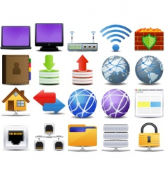 computer and network icons vector image vector image