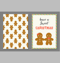 Couple of ginger bread man christmas greeting card vector