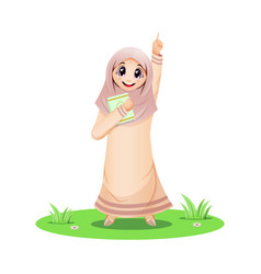 Cute muslim girl pointing up with quran book vector