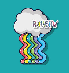 Cute rainbow design with cloud in the sky vector