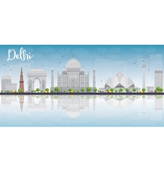 Delhi skyline with grey landmarks vector image