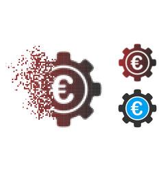 Dispersed pixel halftone euro settings icon vector