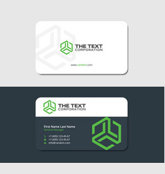 Double sided business card green hexagon vector