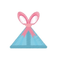 Drawing gift box triangle pink bow vector