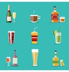Drink flat icons Alcohol and beer wine bottles vector image