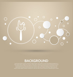 easter rabbit icon on a brown background with vector image
